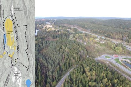 Taraldrud sett sørfra – med kart