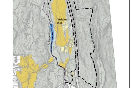 Kart over planområdet på Taraldrud