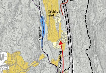 Kart over planområdet med utfartsveier