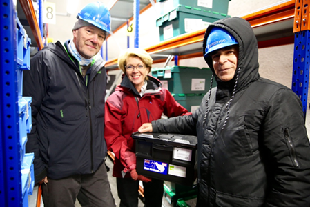Kioumars Ghamkhar (to the far right) along with Åsmund Asdal, NordGen and Marie Haga, Crop Trust in the Seed Vault.