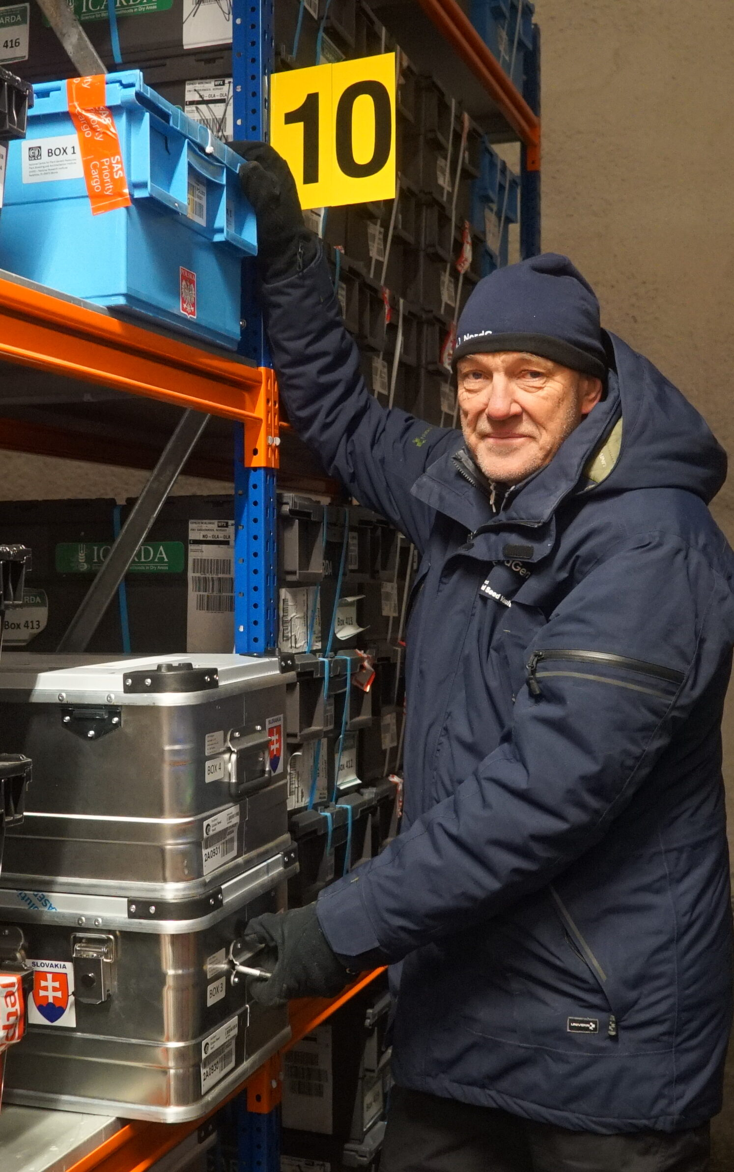 Åsmund Asdal, Seed Vault Coordinator at NordGen after putting the boxes from Poland and Slovakia at the shelves inside the Seed Vault.