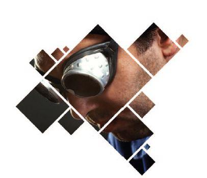 Foto med transparent profilelement lagt over og foto gjengitt i profilelementform.