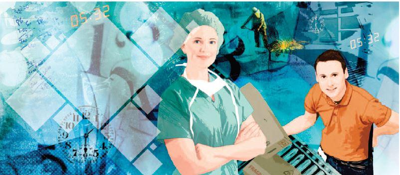 Illustrasjon med transparent profilelement og utsnitt av illustrasjon i profilelementform.