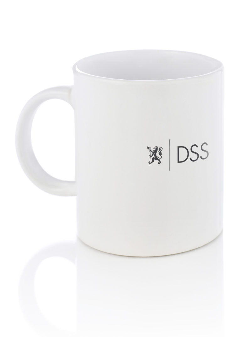 Kopp med forslag om plasssert DSS-logo
