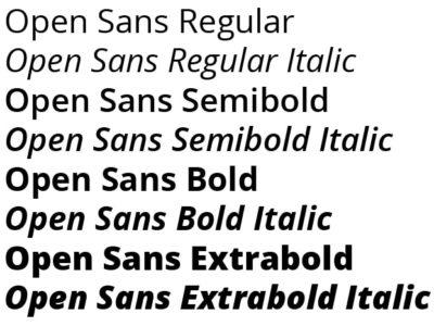 Oversikt over snitt i Open Sans.