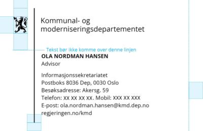 Visittkort med korrekt plassering av departementslogo og tekst.