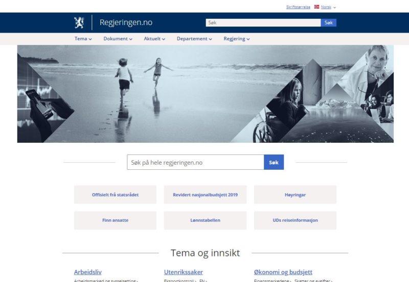 regjeringen.no - bilde av forsiden