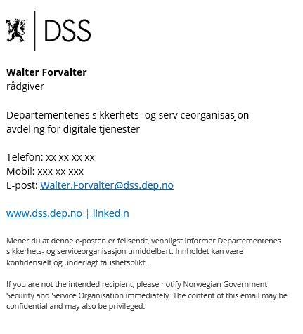 Eksempel som viser oppsett på e-postignatur for DSS