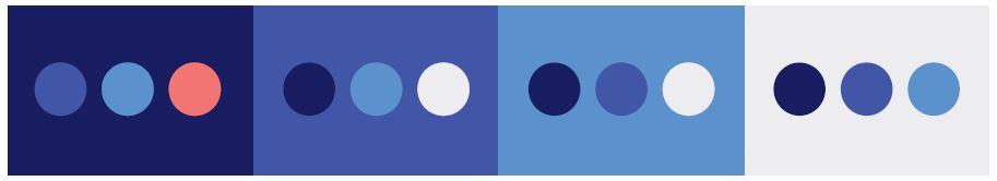 Bildet viser hvordan fargene brukes i kombinasjoner