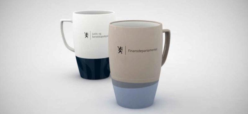 Eksempel på bruk av logo på kopper