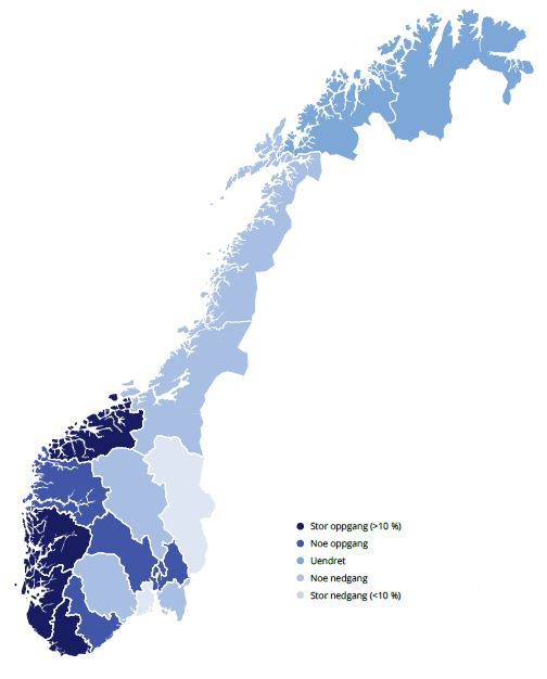 illustrasjonsbilde av Norgeskart der fargene er satt inn