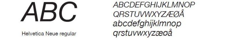 bilde av fonten Helvetica Neue Italic