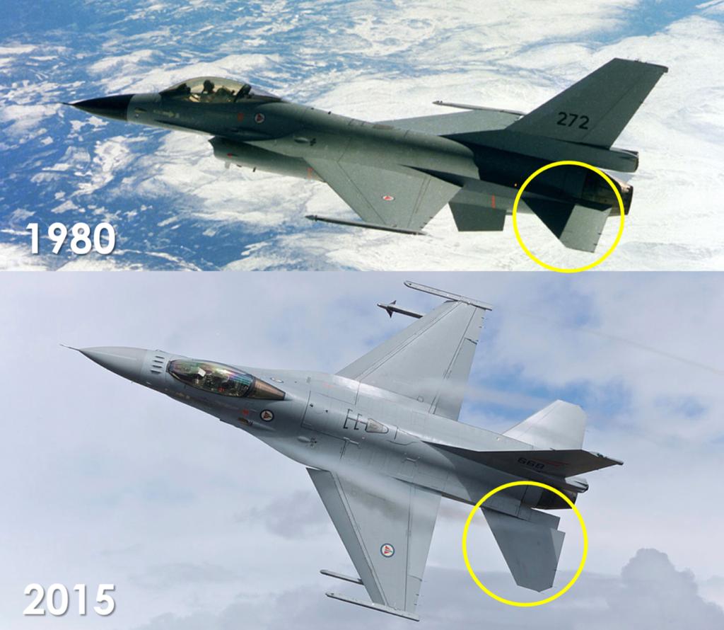 Øverst er første norske F-16 på vei til Norge i 1980. Nederst er en norsk F-16 på øvelse i 2015. Blant de mest synlige forskjellene er det større haleroret på F-16. Foto: Forsvaret