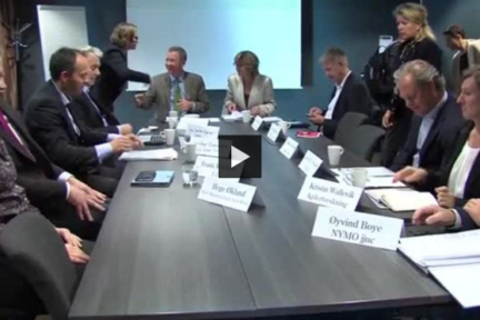Deler av det norske klyngemiljøet møtte Regjeringens ekspertutvalg for grønn konkurransekraft 2. november 2015.